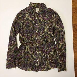 J. Crew Tops - J CREW Perfect shirt in royal paisley 4